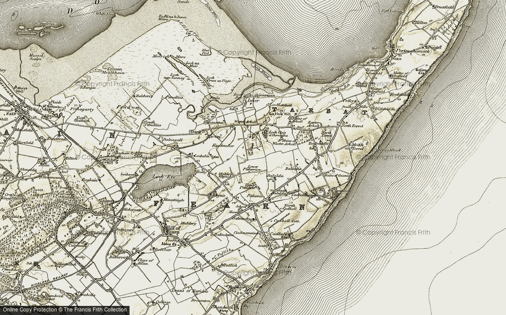 Old Map of Historic Map covering Balmuchy in 1911-1912