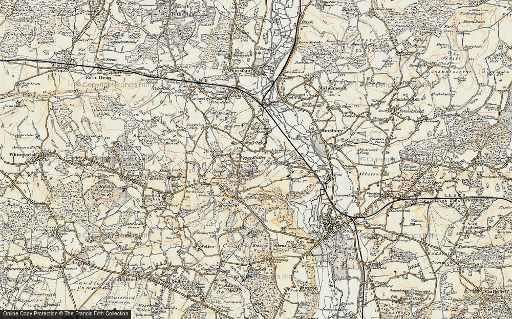 Old Map of Historic Map covering Awbridge Danes in 1897-1909