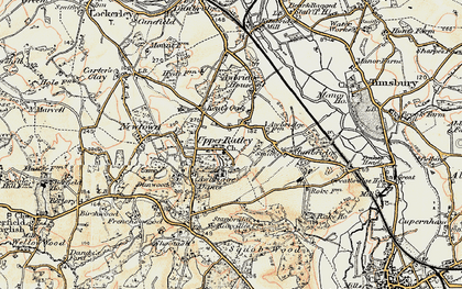 Old map of Awbridge Danes in 1897-1909