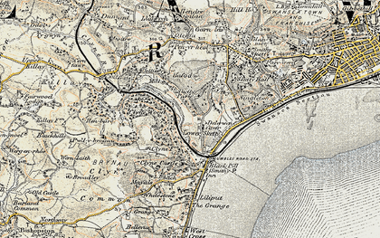 Old map of Lower Sketty in 1900-1901