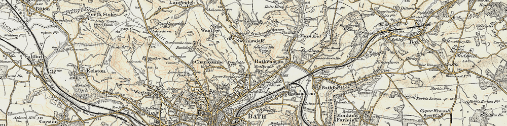 Old map of Lower Swainswick in 1899