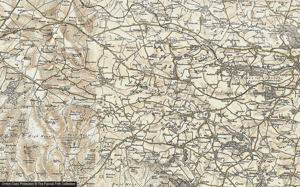Old Map of Historic Map covering Laneast Downs in 1900
