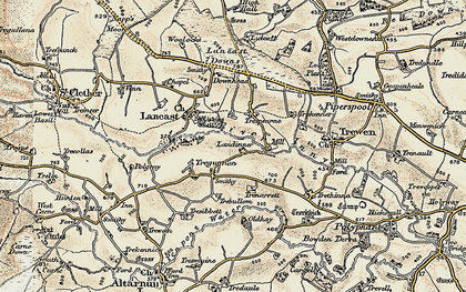 Old map of Laneast Downs in 1900