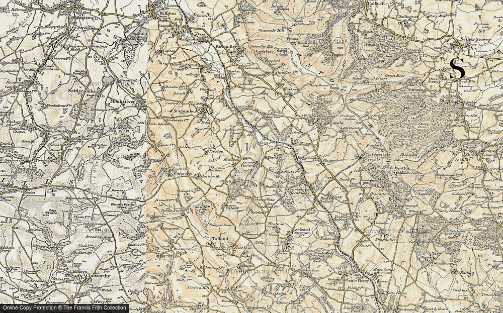 Old Map of Historic Map covering Leigh Cott in 1898-1900