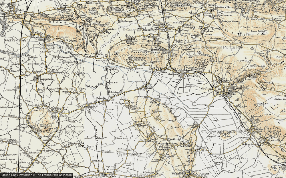 Old Map of Historic Map covering Badgworth Court in 1899-1900