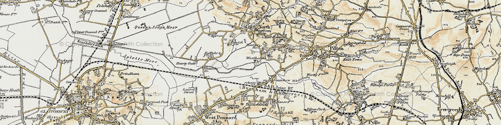 Old map of Whitelake in 1899