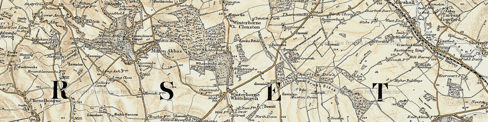 Old map of Whatcombe Down in 1897-1909