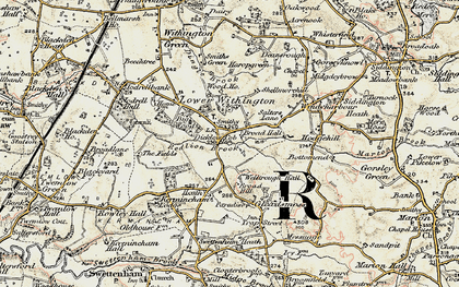 Old map of Lower Withington in 1902-1903