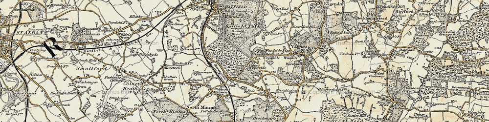 Old map of Woodside Place in 1898
