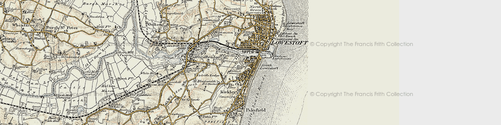 Old map of Lowestoft in 1901-1902