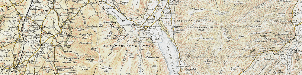Old map of Whiteoak Beck in 1901-1904