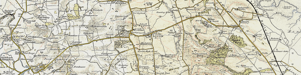 Old map of Lowick in 1901-1903