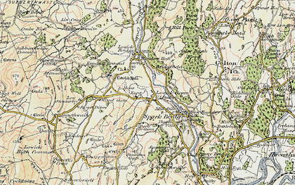 Old map of Lowick Green in 1903-1904