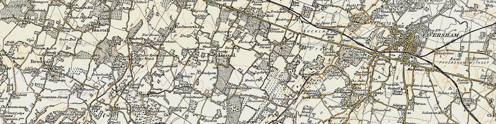 Old map of Tickham in 1897-1898