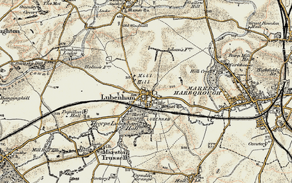 Old map of Lubenham in 1901-1902