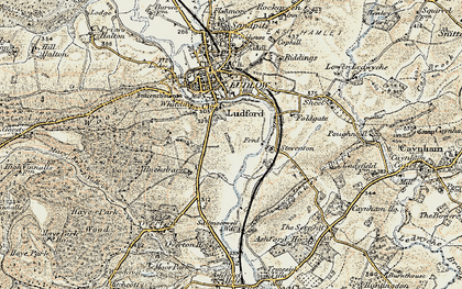 Old map of Ludford in 1901-1902