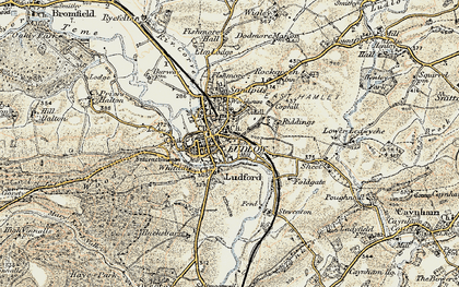 Old map of Ludlow in 1901-1902