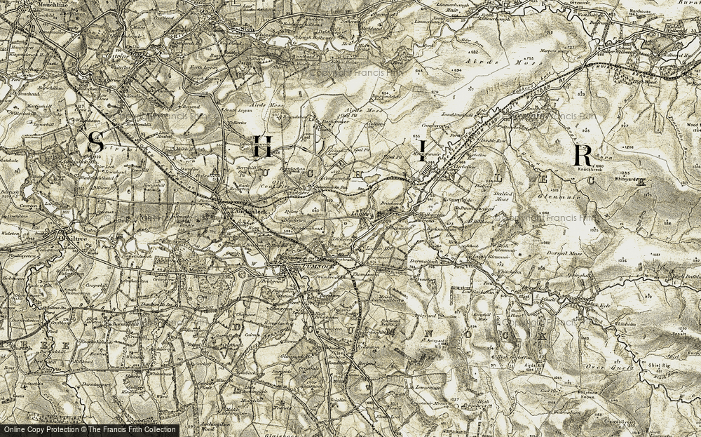 Old Map of Historic Map covering Barglachan in 1904-1905