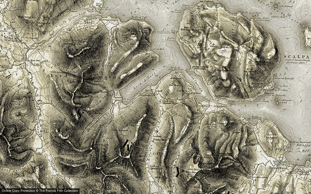 Old Map of Historic Map covering Abhainn an t-Sratha Mhòir in 1908-1909