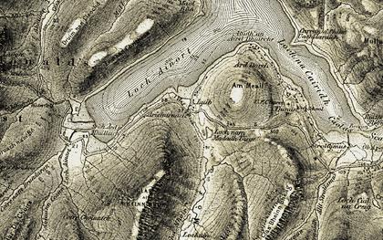 Old map of Abhainn an t-Sratha Mhòir in 1908-1909