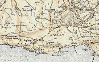 Old map of Lulworth Camp in 1899-1909