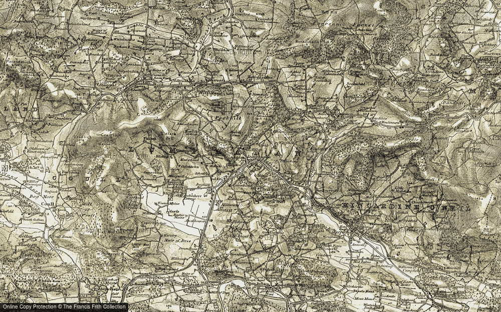 Old Map of Historic Map covering Auchlossan in 1908-1909