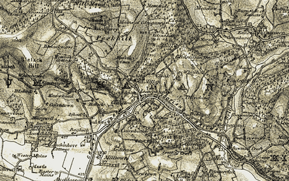Old map of Auchlossan in 1908-1909