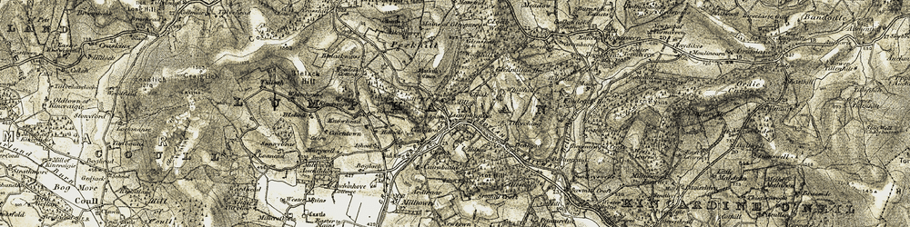 Old map of Tillyching in 1908-1909