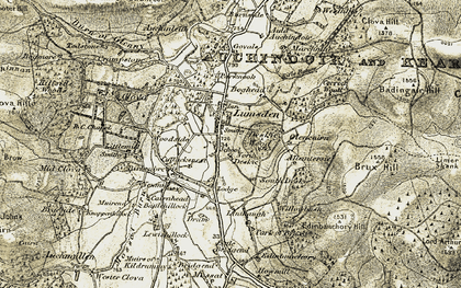 Old map of Linthaugh in 1908-1910