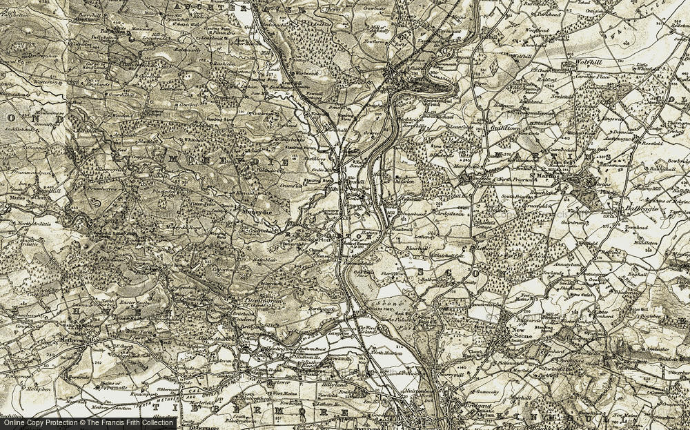Old Map of Luncarty, 1907-1908 in 1907-1908