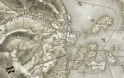 Old map of Auchengavin Burn in 1905-1907