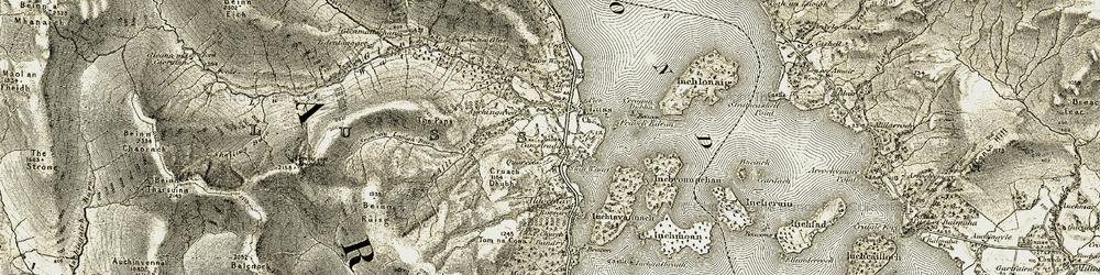 Old map of Tom na Cona in 1905-1907
