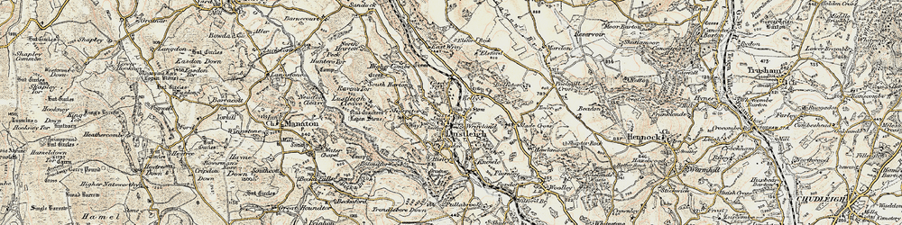Old map of Lustleigh in 1899-1900
