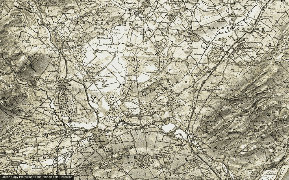 Old Map of Historic Map covering Whins in 1908