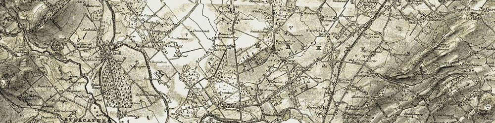 Old map of Whins in 1908