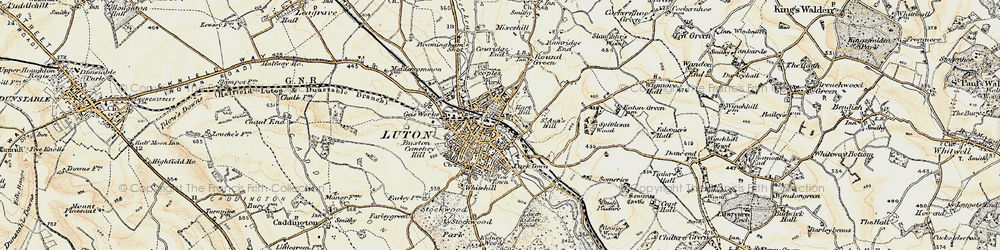Old map of Luton in 1898-1899