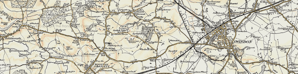Old map of Lydiard Tregoze in 1898-1899