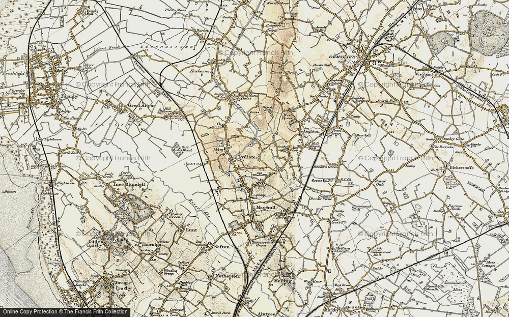 Old Map of Historic Map covering Aughton Chase in 1902-1903