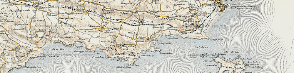 Old map of Whitewell in 1901-1912