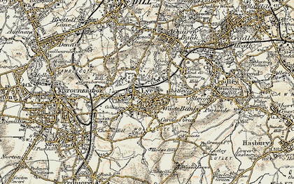 Old map of Lye in 1901-1902