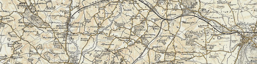 Old map of Ardencote Manor Hotel in 1899-1902