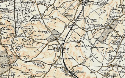 Old map of Lyminge in 1898-1899