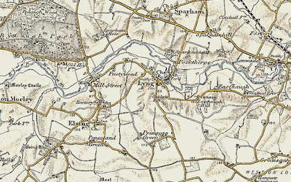 Old map of Lyng in 1901-1902