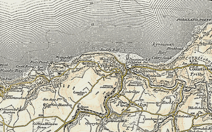 Old map of Wringcliff Bay in 1900
