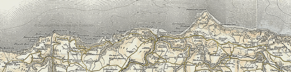 Old map of Lynton in 1900
