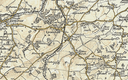 Old map of Lyonshall in 1900-1903