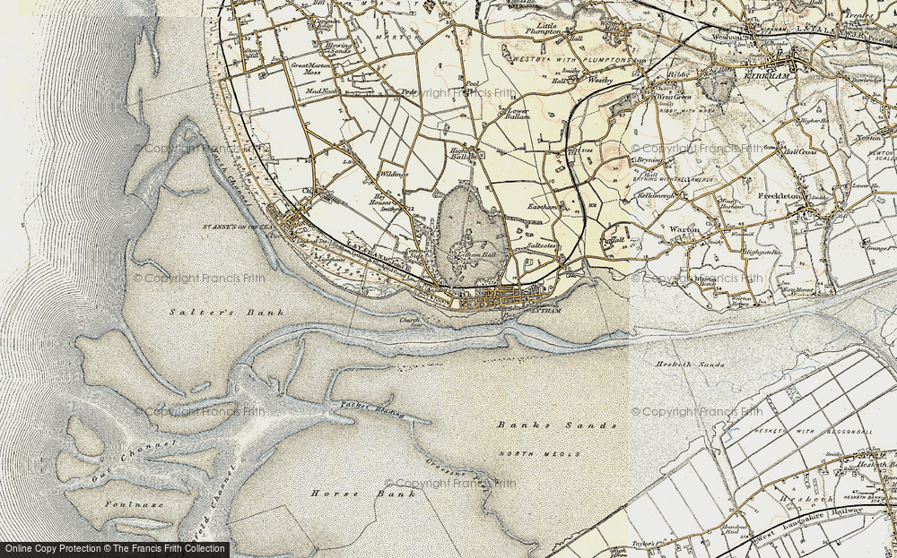 Old Map of Historic Map covering Banks Sands in 1903