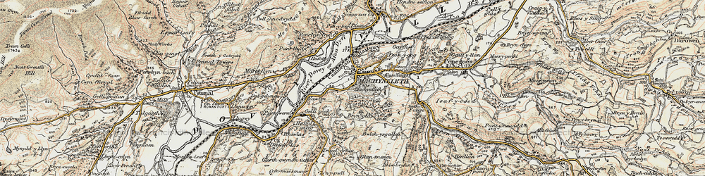 Old map of Machynlleth in 1902-1903