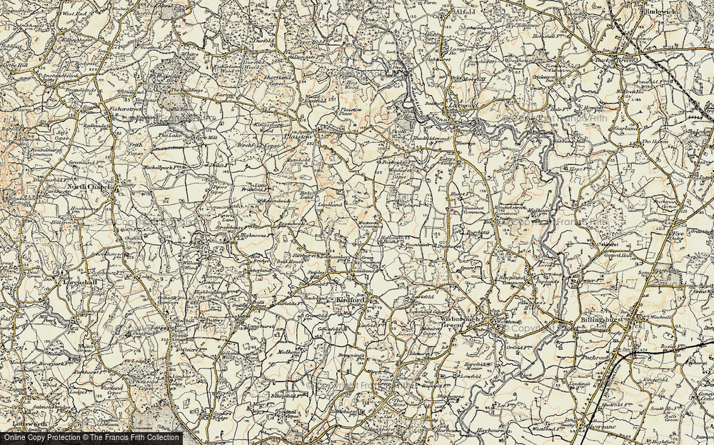Old Map of Historic Map covering Lanelands in 1897-1900