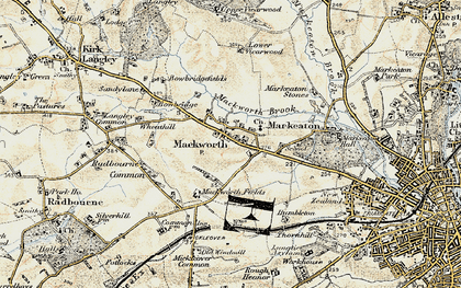 Old map of Mackworth in 1902-1903